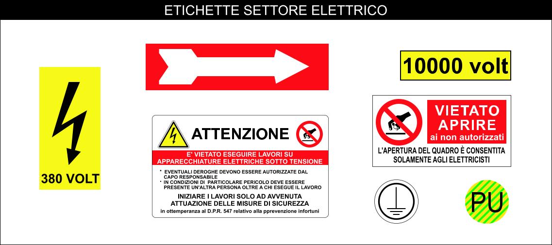 ETICHETTE ADESIVE SETTORE ELETTRICO