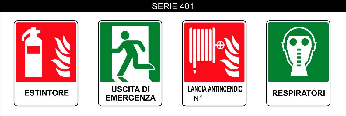 cartelli antincendio salvataggio serie 401