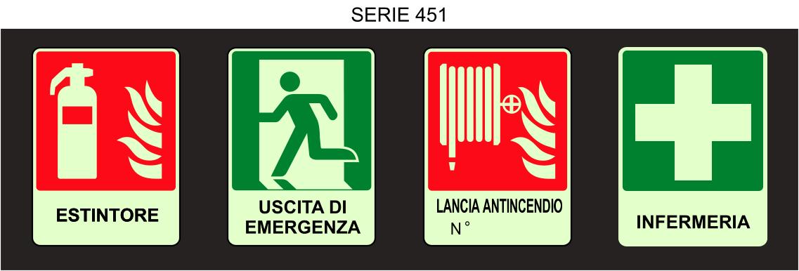 serie cartelli antincendio luminescenti 451
