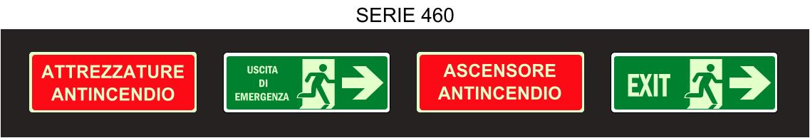 cartelli luminescenti salvataggio serie 460