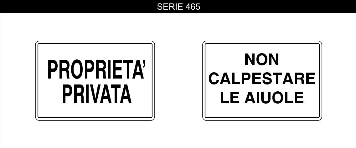 cartelli proprietà privata serie 465