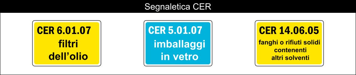 cartelli segnalatori indicazione segnaletica CER