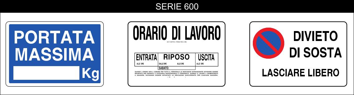 cartelli segnalatori di indicazioni serie 505